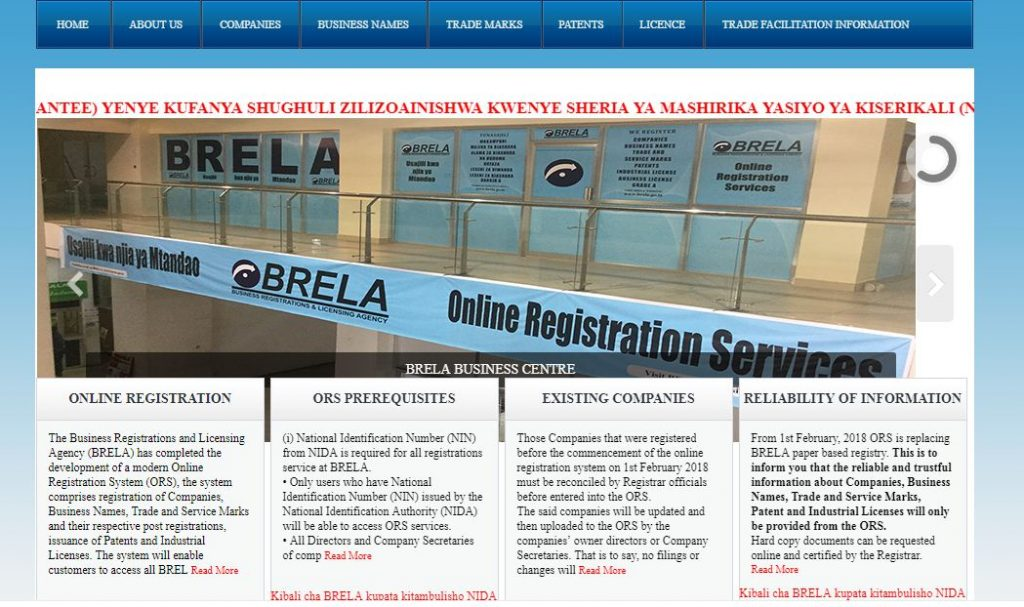 how to register a business name in Tanzania